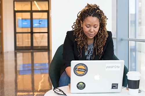A woman coding