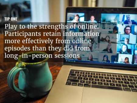A graphic overlaying 'play to the strengths of online' over an image of a teleconference