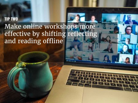 A graphic overlaying 'Make online workshops more effective ' over an image of a teleconference