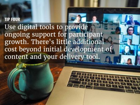 A graphic overlaying 'Use digital tools to provide ongoing support ' over an image of a teleconference